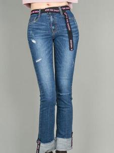 TB2女裝新品淡藍色磨砂白牛仔褲