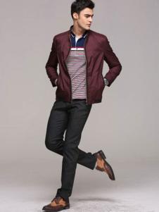 自然感觉男装枣红色立领夹克