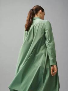COS女装新品湖绿色长款衬衫