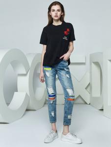 CCDD女装新品黑色休闲 印花T恤