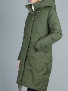 TB2女装新品深绿色修身羽绒服