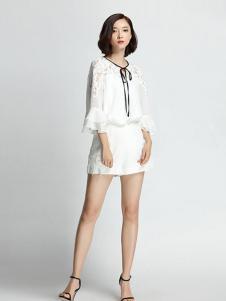名媛坊女装白色喇叭袖T恤
