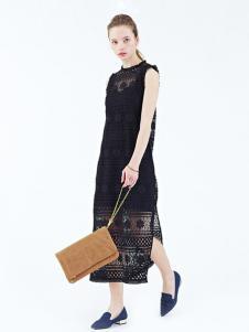 Rosebullet女装黑色开叉连衣裙