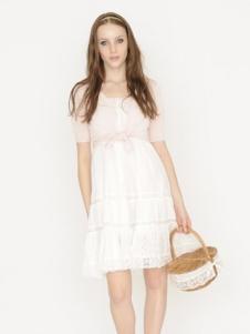 Rosebullet女装白色短袖连衣裙