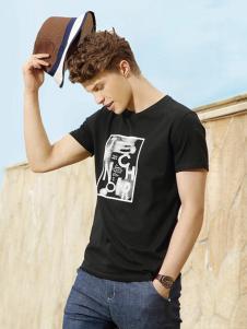 自然感觉男装黑色字母T恤