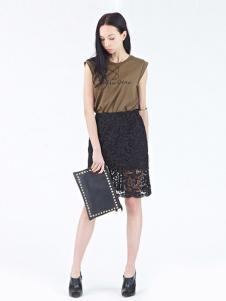 Rosebullet女装黑色蕾丝半裙