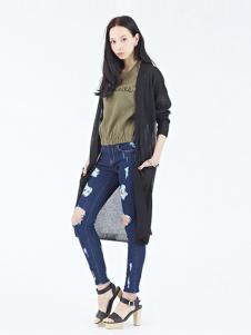 Rosebullet女装黑色长款雪纺开衫