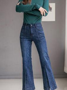 TB2女装新品深蓝色阔腿裤
