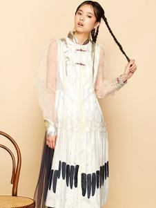 密扇女装白色复古连衣裙