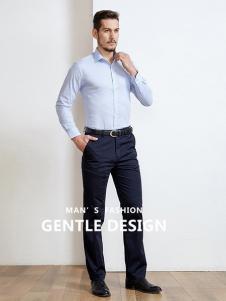 开开男装新款浅蓝色衬衫