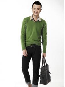 佐罗世家男装军绿色假两件针织衫