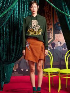 密扇女装墨绿色卫衣