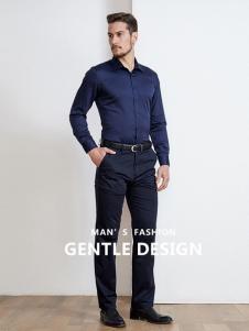 开开男装新款青色衬衫