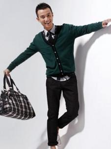 佐罗世家男装墨绿色V领针织衫
