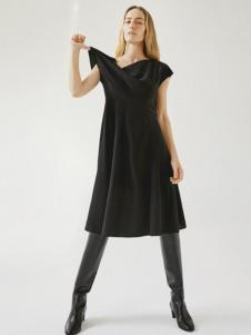 COS女装新品黑色收腰连衣裙
