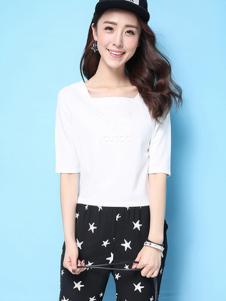 puella女装新品白色清爽T恤