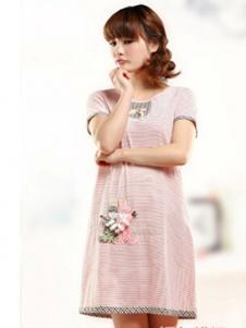 七色纺粉色条纹睡裙