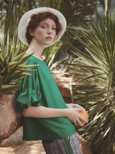丽迪莎新款时尚气质绿色上衣