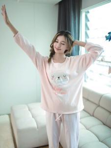 七色纺粉色七分袖家居服
