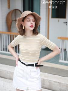 歌宝琪2018春夏圆领纯色条纹百搭上衣
