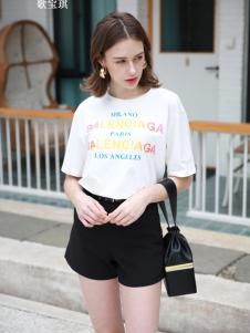 歌宝琪2018春夏圆领白色印花上衣