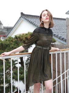歌宝琪2018春夏收腰修身不规则连衣裙