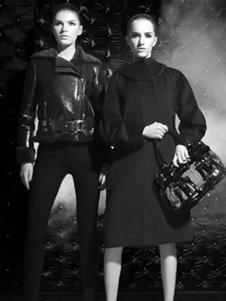 萨侬女装黑色长款大衣