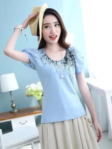 千贝惠蓝色泡泡袖T恤