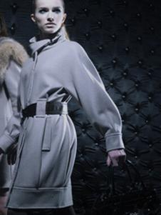 萨侬女装蓝色收腰大衣