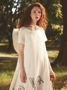丽迪莎欧美风修身中长款印花连衣裙