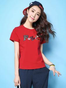 puella女装新品红色简单T恤