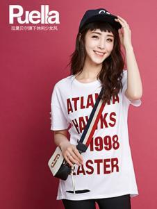 puella女装新品白色字母T恤