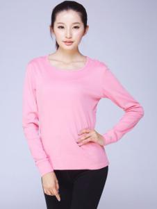 七色纺粉色修身家居服