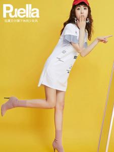 puella女装新品白色休闲连衣裙