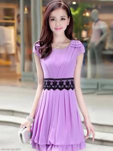 千贝惠紫色收腰连衣裙