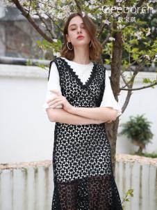 歌宝琪2018春夏时尚修身喇叭袖假两件蕾丝连衣裙