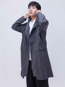 森所灰色长款风衣