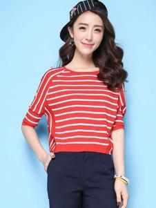 puella女装新品红色条纹T恤