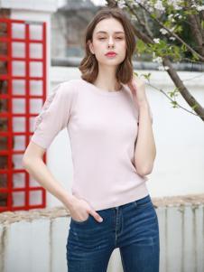 歌宝琪2018春夏圆领纯色百搭上衣