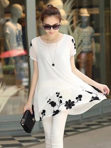 千贝惠白色印花T恤