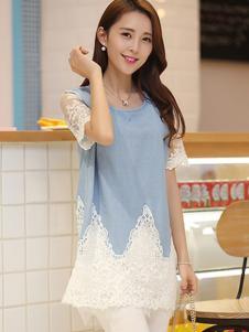 千贝惠蓝色蕾丝T恤