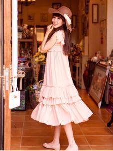 糖果马车女装粉色无袖大摆连衣裙