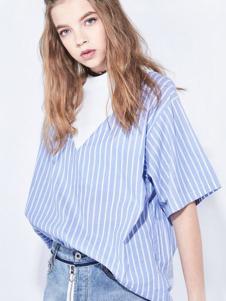 地素女装新品淡蓝色条纹假两件衬衫