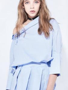 地素女装新品淡蓝色漏肩连衣裙