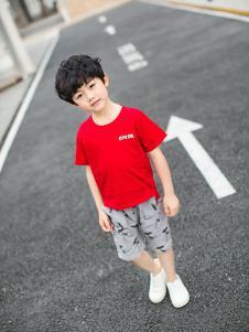 淘淘猫时尚男童红色T恤