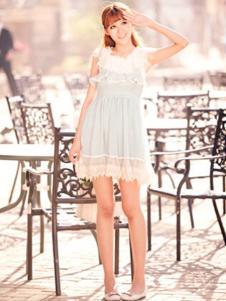糖果马车女装白色蕾丝连衣裙