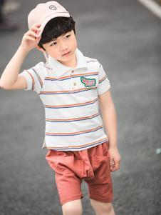 淘淘猫新款时尚条纹男童衬衫