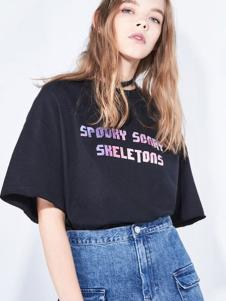 地素女装新品黑色大版休闲T恤