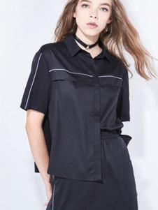 地素女装新品黑色休闲衬衫套装