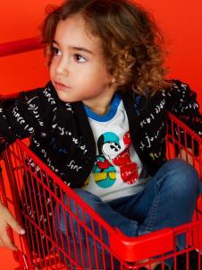 迪士尼宝宝黑色字母外套